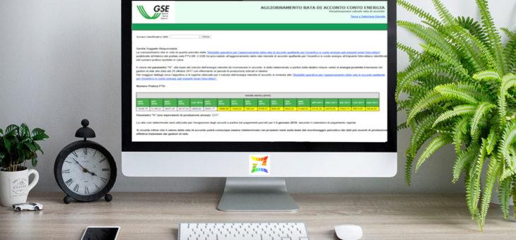 """Portale GSE: attivata sezione """"Visualizzazione calcolo rata di acconto"""""""